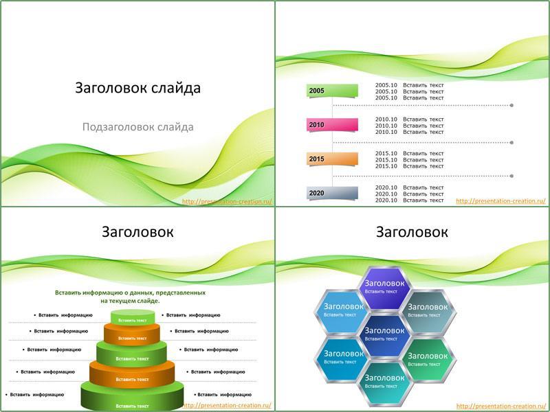 Шаблон для Google презентаций Желто-зеленые волны